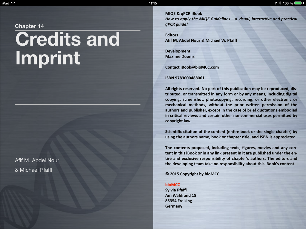 Qpcr books and ebooks please let us know if you want to participate with an own application or chapter in the miqe qpcr ibook contact us via ibookbiomcc fandeluxe Images